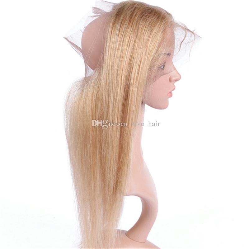 8A الماليزية العسل شقراء الشعر البكر مع 360 الرباط أمامي إغلاق اللون 27 الفراولة شقراء مستقيم الشعر ينسج مع 360 الدانتيل أمامي