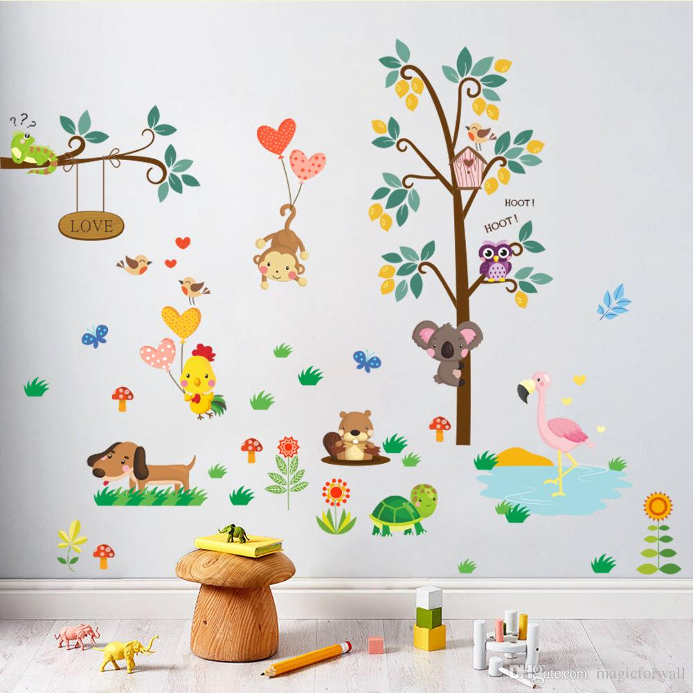 Cartoon Animals Monkey Bear Dog Owls Koala Chick Flamingo Trees Wall Stickers for Kids Room Nursery Decor Wallpaper Poster Art Wall Applique