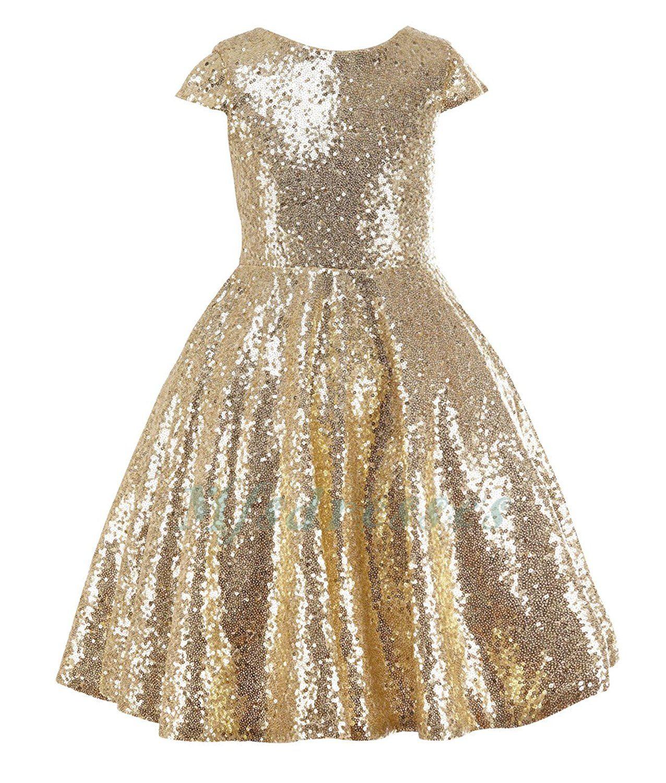 2017 Gold Sequins Flower Girls Dress Baby Infant Toddler