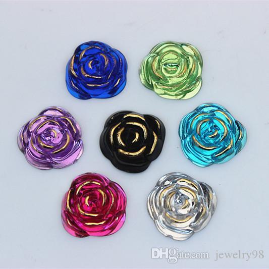 100 PZ 20mm Rose flower Shape Acrilico Strass di cristallo flatback perline Gioielli Artigianato Decorazione FAI DA TE ZZ217