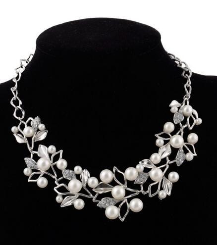 White Pearl Diamond Necklace для женщин золота Посеребренной Кристалл себе ожерелье листьев шарма Rhinestone шарма ожерелье подарок Кристмас