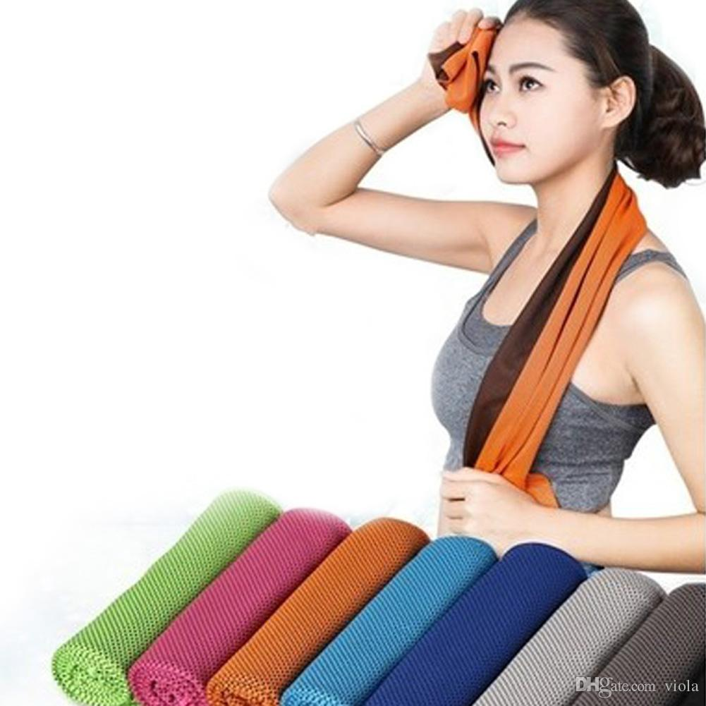 Double Layer Cooling Towel Sports ice cold towels Instant Cooling quick dry yoga towel Scarf summer hand face towels free DHL shipping