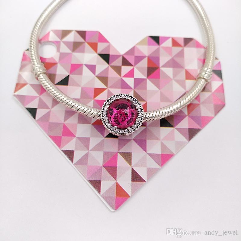 Auténticos 925 perlas de plata esterlina Disny, los encantos de rosa radiante de Belle se adaptan a las pulseras de joyería de estilo Pandora europeo 792140NCC