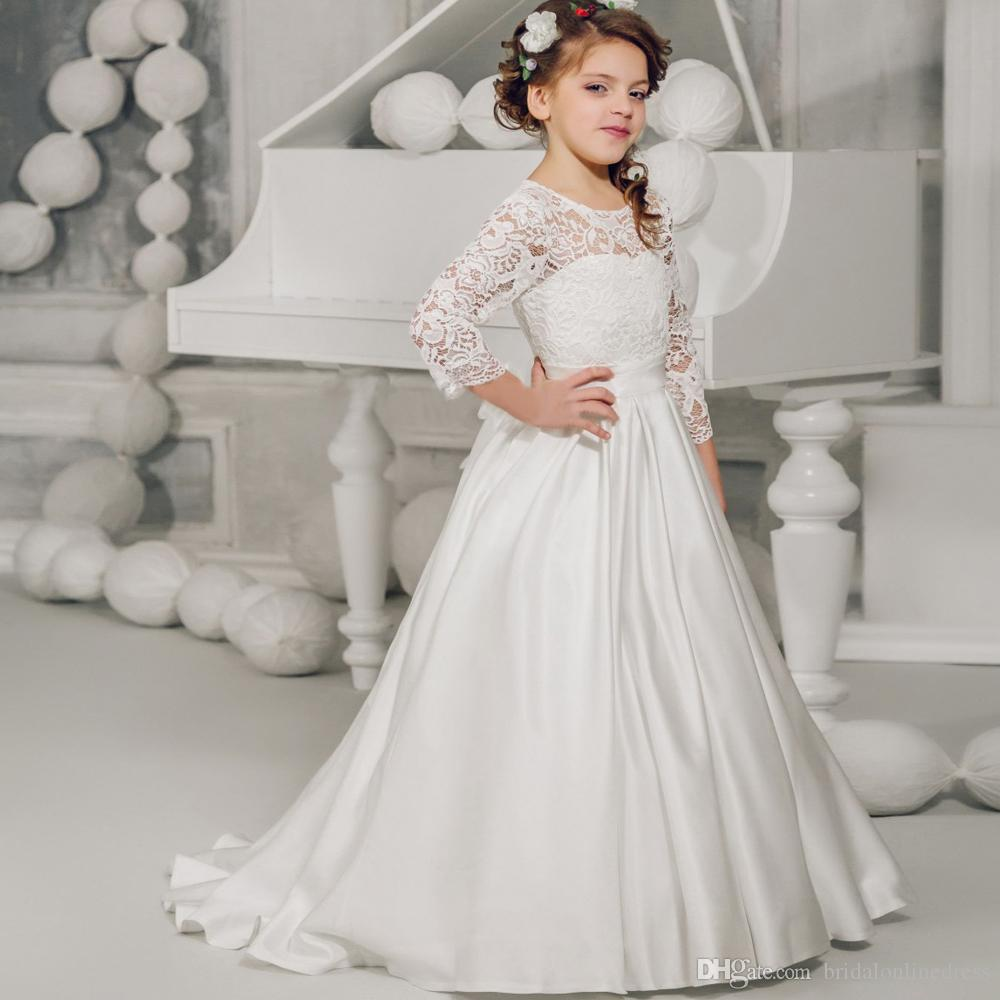 Pretty White Lace Ball Gown Long Sleeves Flower Girl Dress For ...
