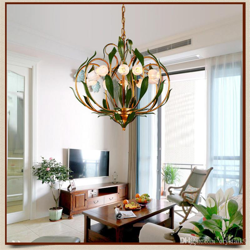Glass Flowers Green Leaves Chandeliers American Garden Artistic Suspension Lighting  Living Room Art Deco Hanging Lamp Hanging Lighting Modern Hanging Lights ...