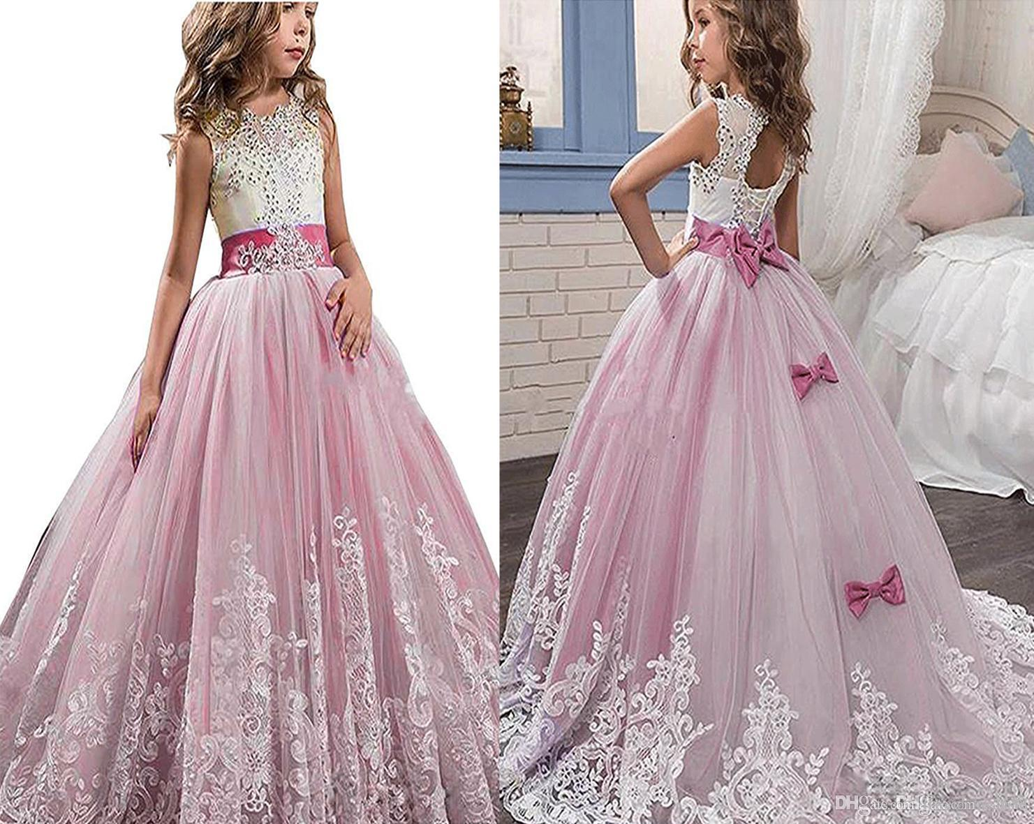 Kauste Ball Gown Dress Pink Lace Tullle Dress Aline Flower Girl Dress For First Communion Party For Wedding For Birthday Party