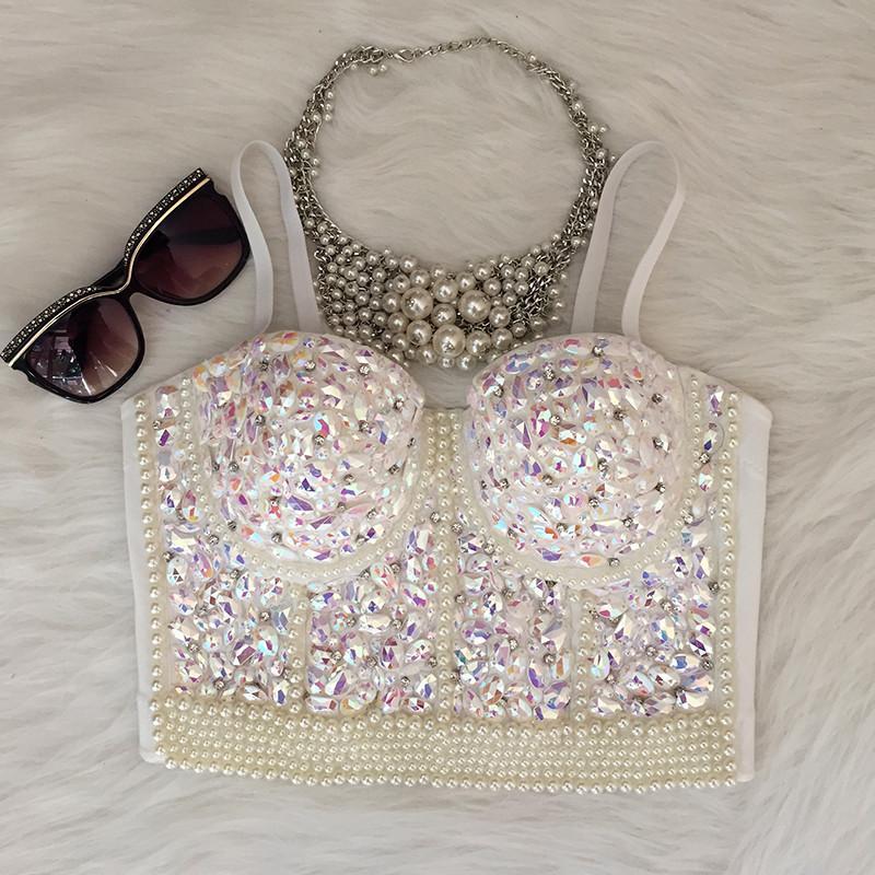 5352081c385 Wholesale- Gorgerous Rhinestone Bead Pearls Bustier Push Up Wedding  Bralette Women s Bra Cropped Top Vest Plus Size