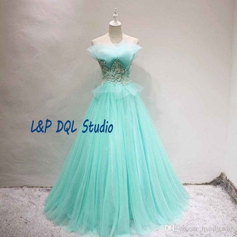 779f546ef644 Mint Ball Gown Prom Dresses Strapless Pleats Tulle Organza Major Beading  Sequins Sweep Train Lace Up Back Evening Gowns Lace Prom Dress Long Dresses  Online ...