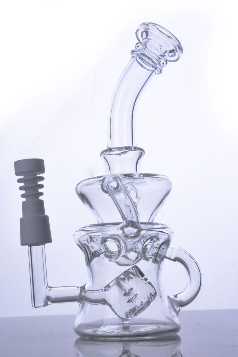 Siklon Helix cam bong çift geri dönüşüm cam bubber su borusu konsantre yağ kuleleri ile seramik çivi 14mm ortak