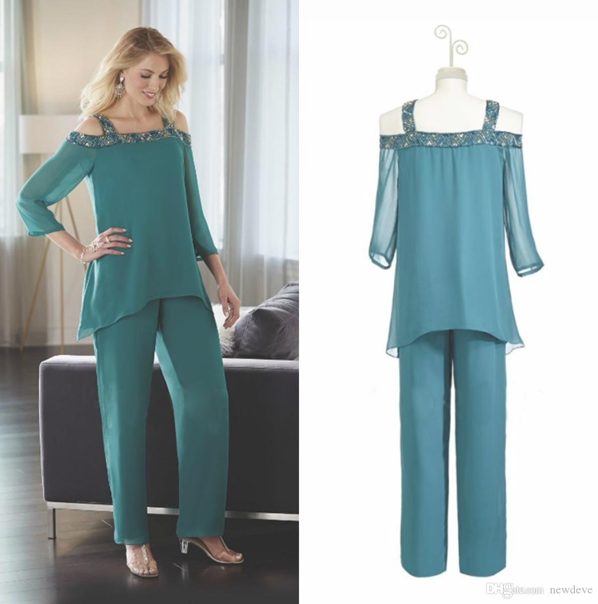 Two Pieces Bead Mother Of The Bride Pant Suits Hot Chiffon Off ...