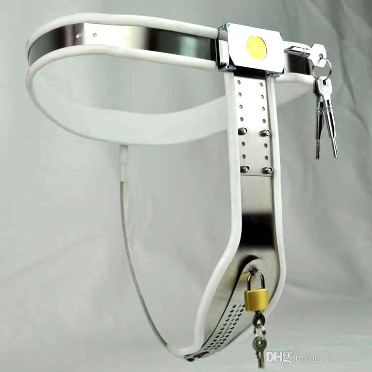 Female Adjustable Curve-T Stainless Steel Premium Chastity Belt with Locking Cover Removable WHITE color