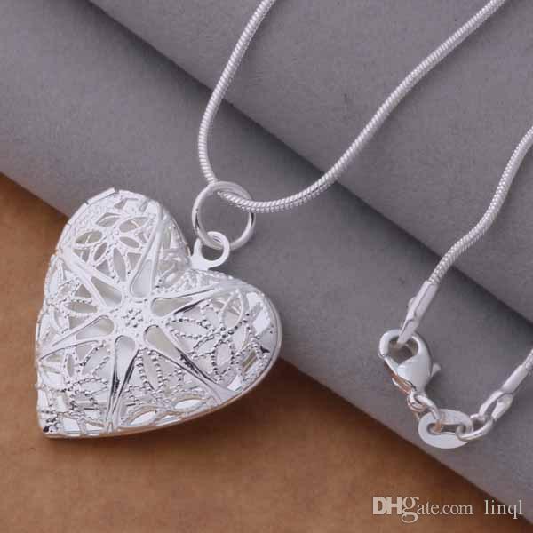 النظام المختلط / 925 الفضة مطلي قلادة القلب قلادة الأزياء والمجوهرات هدية عيد الحب الحرة /