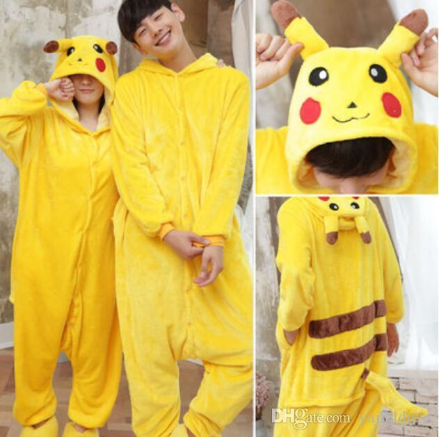 2017 yellow pikachu kigurumi pajamas animal suits cosplay outfit halloween costume adult garment cartoon jumpsuits unisex animal sleepwear from yajlkldress - Pikachu Halloween Costume Women