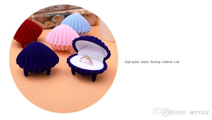 Pink Shell Velvet Jewelry Ring/ Earring Gift Packaging Display Box For Wedding Jewelry Boxes 2017