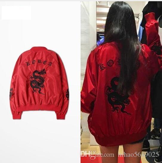 Ulzzang Korea Style Men Fashion Jacket 3d Dragon Embroidery Bomber