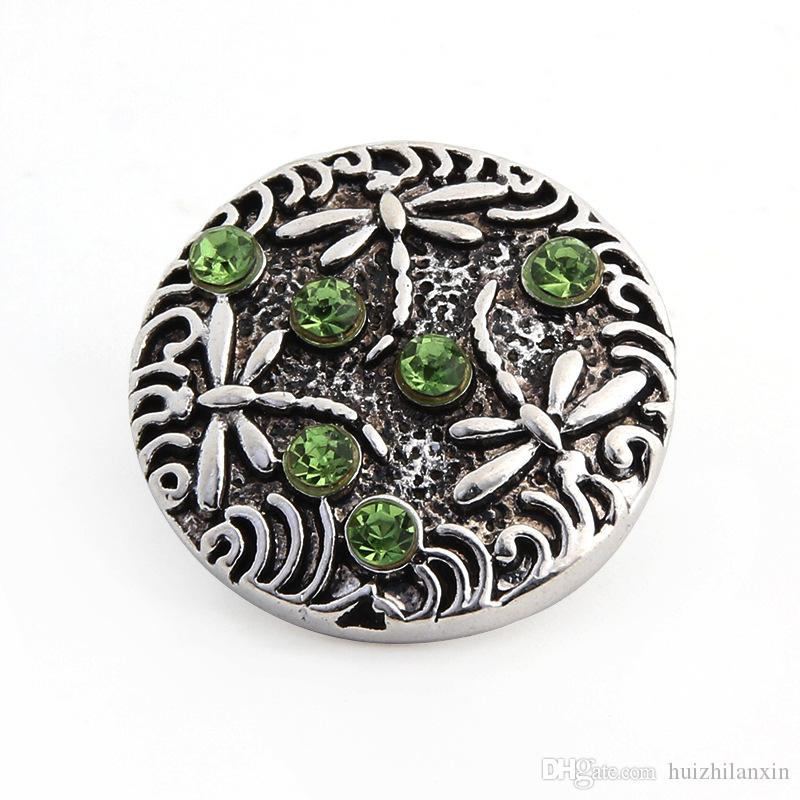 alloy dragonfly ed crystal ginger snap button for 18mm button snap metal bracelet ≠cklace