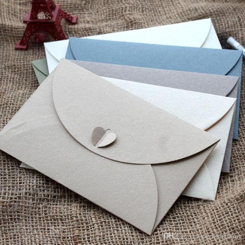Western style Mixed Colour Big Vintage Paper Envelope with Heart Shape for Wedding Invitation/ Card Packing Decoration ZA3628