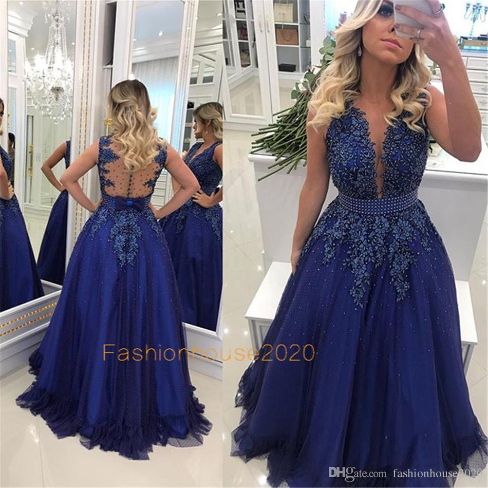 Modest Royal Blue Beaded Prom Dresses Long V Neck Appliques Beading Sheer Illusion Bodice Formal Evening Gowns Plus Size Party Dress