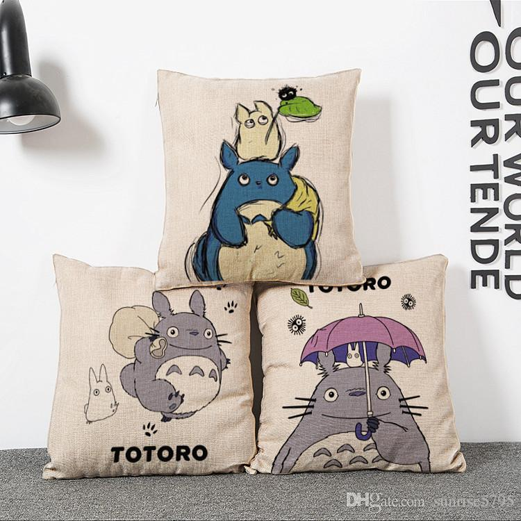 cartoon totoro cushion cover decorative kids bed chair couch throw pillow case anime almofada linen cojines