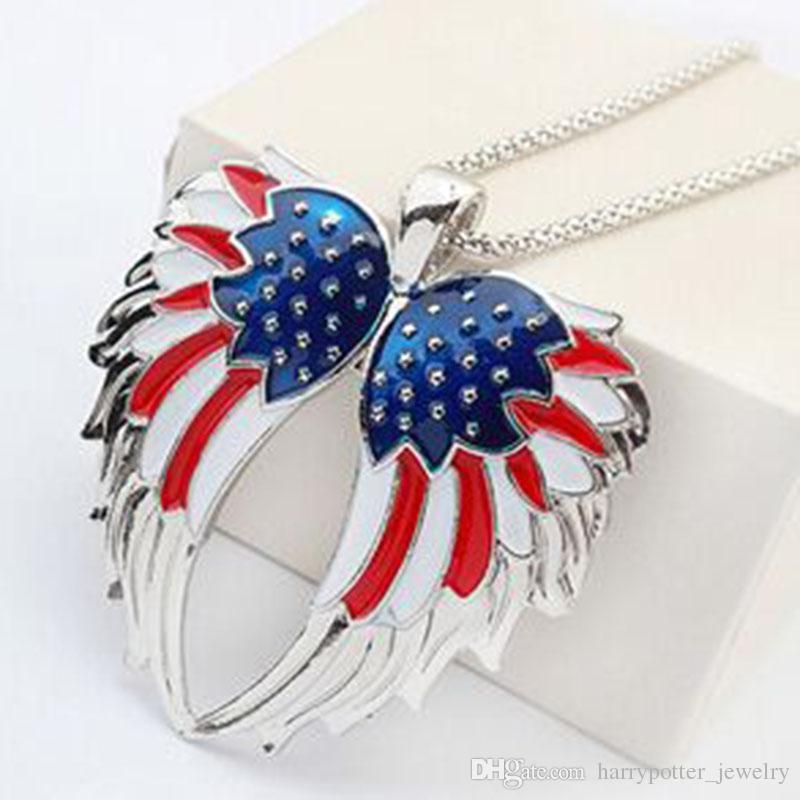 L'insieme degli orecchini dell'ala di angelo dello smalto degli SUA il regalo delle ragazze ha placcato l'argento dell'orecchino della collana delle ali di angelo della bandiera stabilito monili etnici dell'annata 161917