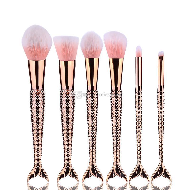 Pro Mermaid Makeup Brushes Set Beauty Cosmetics Gradient Color Thread Oval Blending Powder Blush Make up Brush Tool Kit Set