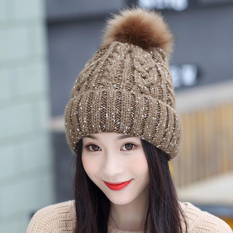 New Fashion Autumn Winter Women Cap Fox Fur Ball Hat Pom Poms 12CM ... 0bb130e04550