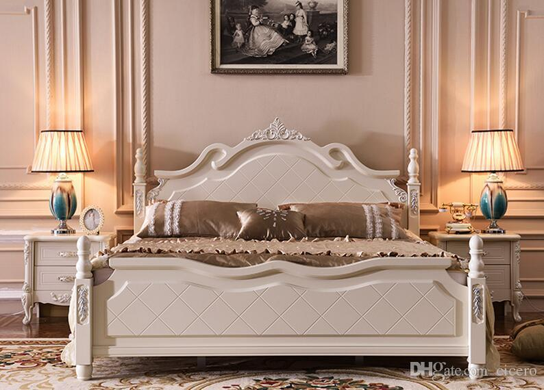 Compre Muebles Blancos Del Dormitorio De La Madera Sólida De Madera ...
