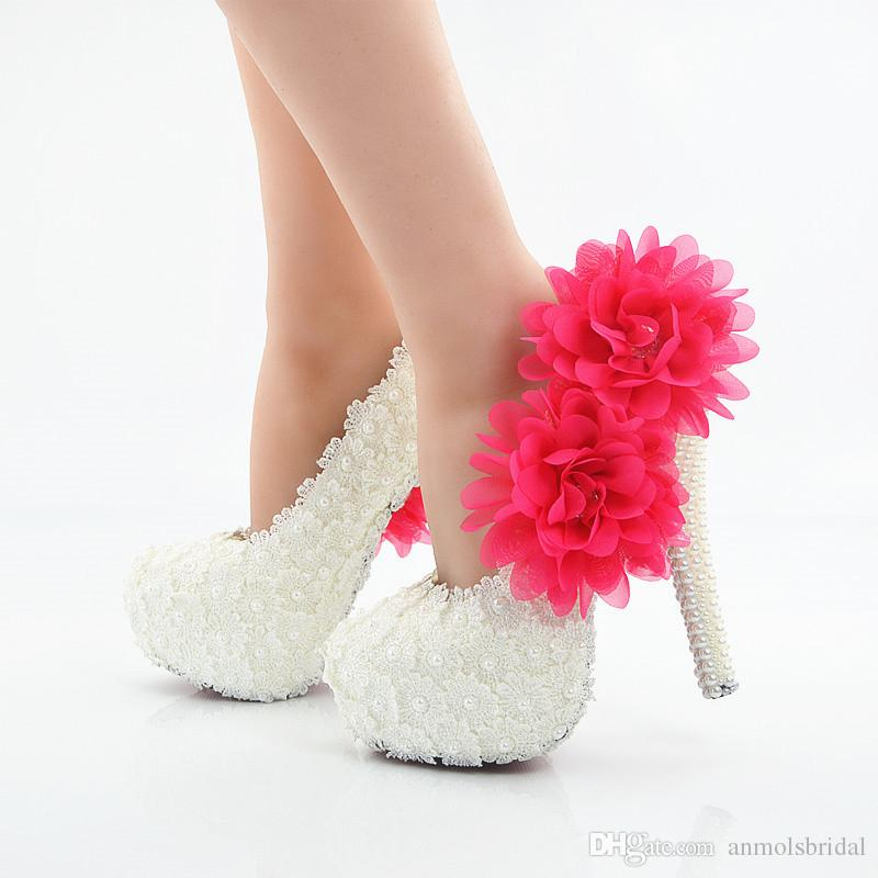 Sexy Prom Evening Shoes Cinderella Shoes Hand-made Lace Bridal Bridesmaid  Shoes Nigh Club Party High Heels with Hot Pink Flower 226 White Lace Pink  Flower ... eabfa53e5c