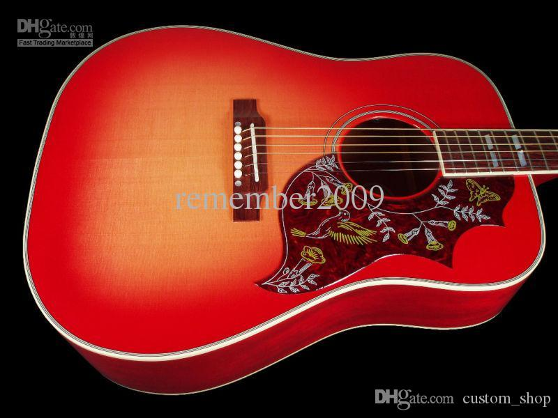 Solid Spruce Top 41 Inches Humming Cherry Sunburst Vintage Acoustic  Electric Guitar, Split Parallelogram Inlay, Red Turtle Pickguard