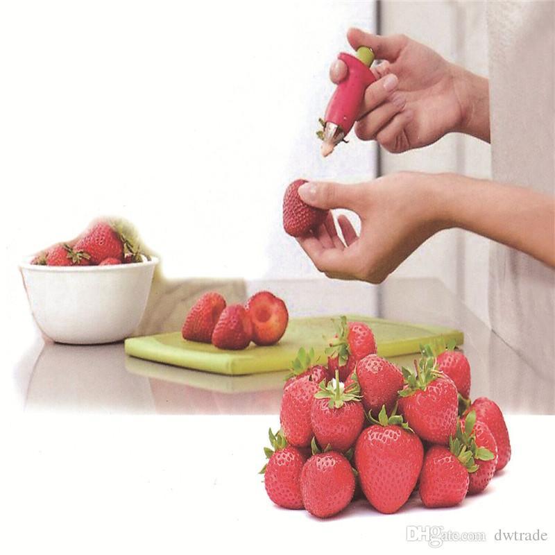 2017 المطبخ سيقان الطماطم الفاكهة الفراولة سكين الجذعية يترك مزيل الفاكهة القطاعة الفراولة huller الفاكهة أخذ أداة مطبخ