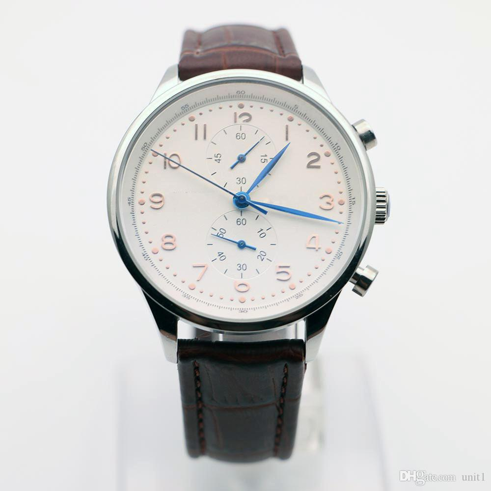 classic s watch silver leather men watches dial white fossil strap