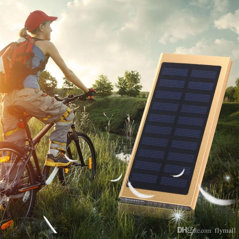 Ultra thin Solar Power Bank 20000mAh External Battery Portable Universal Cell Phone Powerbank Solar Charger For iphone Android Smartphone
