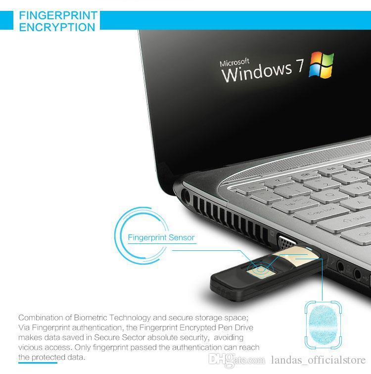 USB2.0 64GB 32GB U Disk Storage Device Flash Drive Pen Drive with Fingerprint Encryption Function Golden Sliver Color