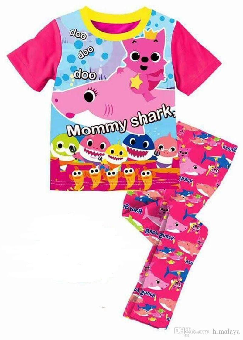 wholesal baby sharks pajamas kids cotton pajamas suit boys  2017 wholesal baby sharks pajamas kids cotton pajamas suit boys girls cartoon t shirts and pants clothes sets for 2 7y xe 618 baby clothes kids pajamas 2017