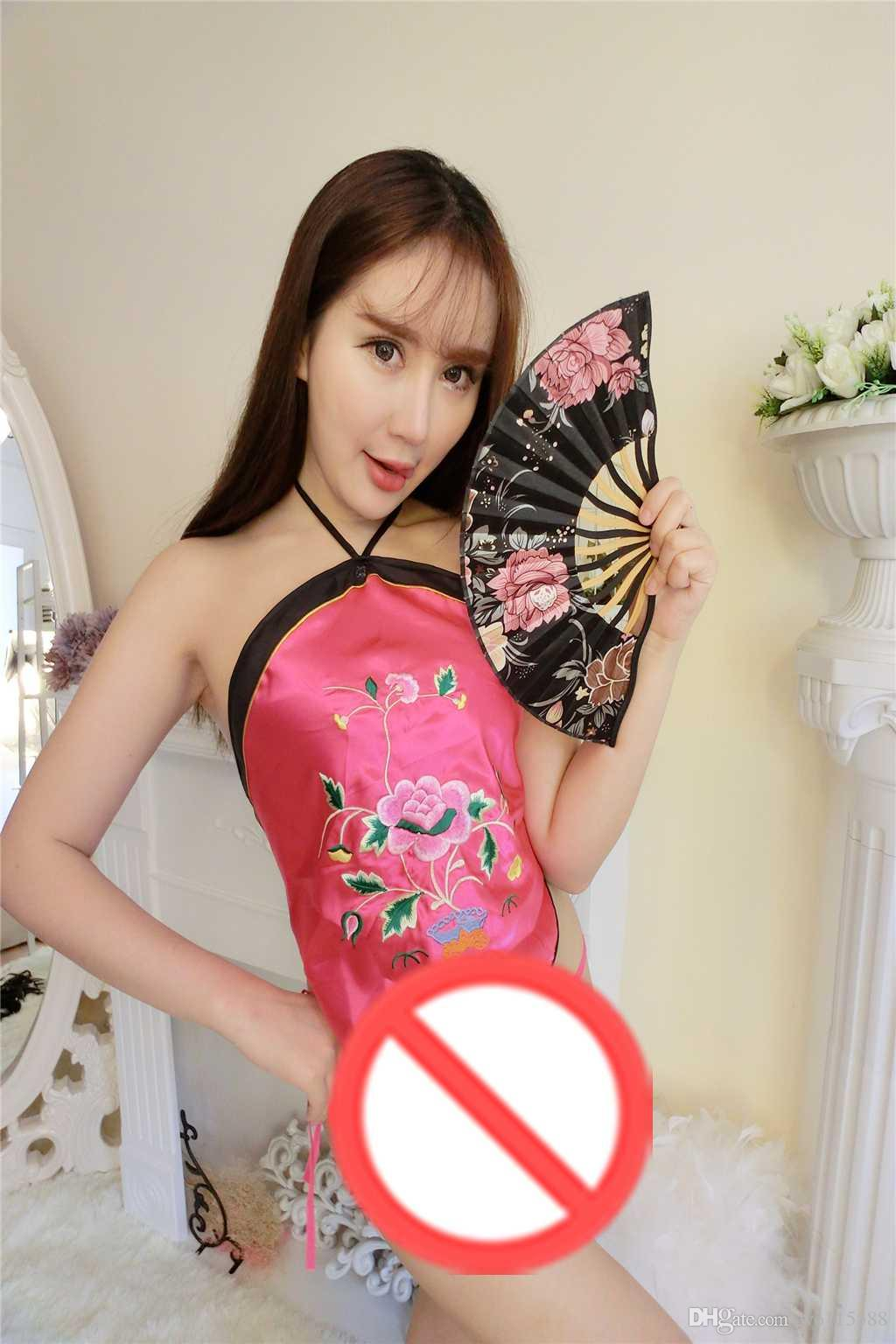 Frete grátis new lingerie sexy cosplay divertido dumplings senhoras sexy adulto conjuntos de nacional vento tribunal bordado sling roupa interior antigo pajam