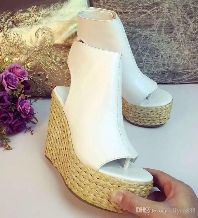 Botas de Tornozelo do dedo do pé aberto Imprimir Estilo Verão Boemia Sapatos de Mulher 2017 Sandalias Mujer Sandálias de Gladiador de Plataforma de Couro Macio Do Partido