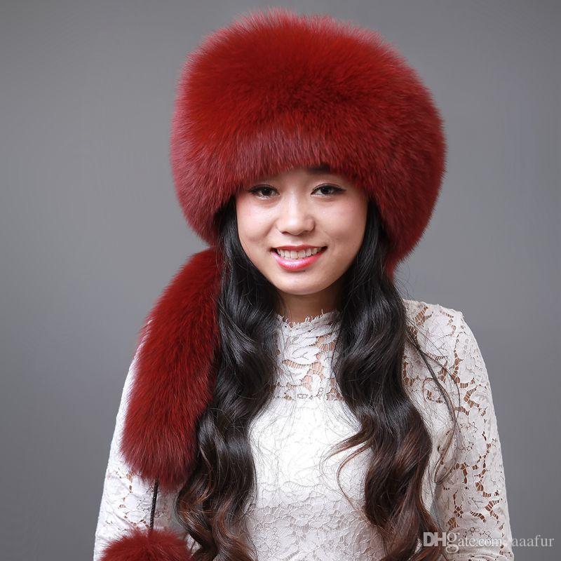 bd64c428e8c Woman Fashion Winter Fur Hat Leather Hat Ms. Rabbit Hair Fox Fur ...