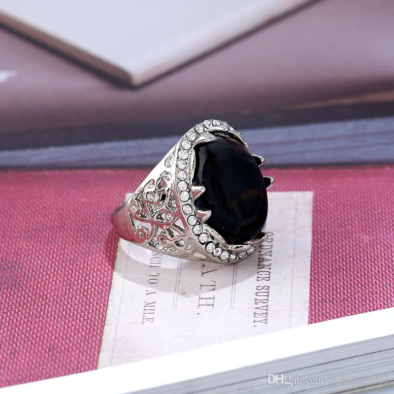Onyx Agate Rings For Men Platinum Plated Men's Ring Banded Agate Natural Stone Jewelry For Women