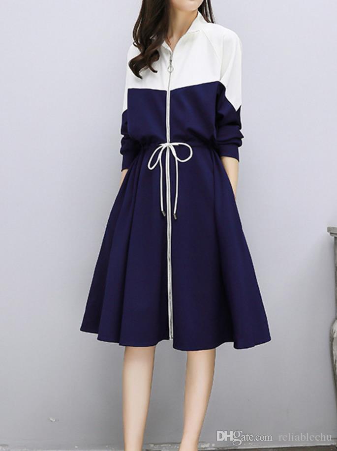 Veste Robe Longue Manches Longues Col Blanc Stand Coloré Bleu Patchwork Zipper Pochettes Cordon Robes De Taille Free Ship