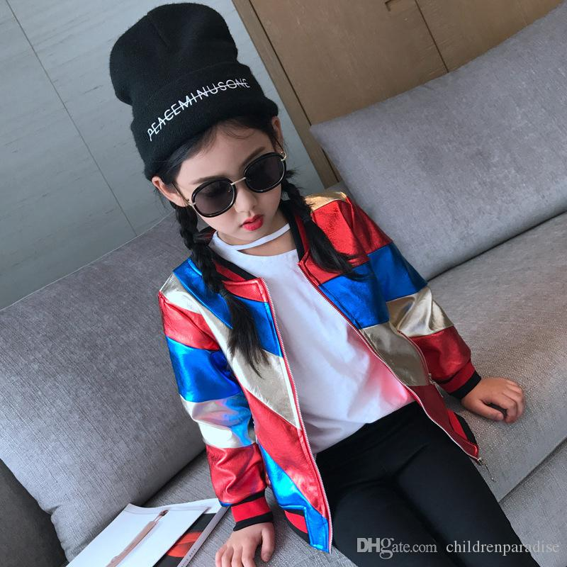 girls baseball jackets 2017 autumn long sleeve kids jackets for girls color patchwork girls pu leather jackets children outwear QK17N236
