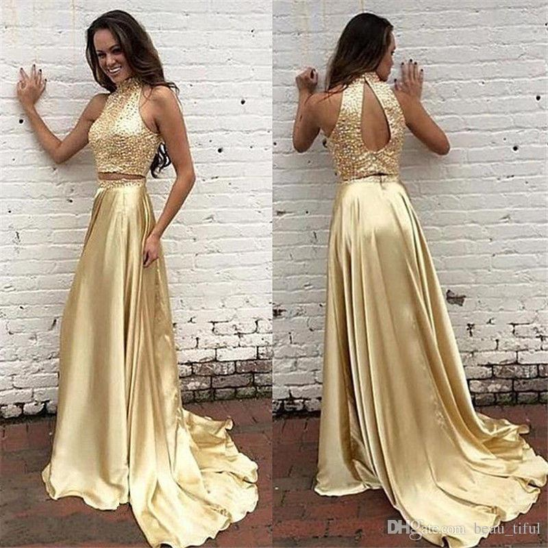 Fast Shipping evening dresses abendkleider 2017 elegant high neck sexy off the shoulder open back satin gold prom gowns vestidos de Noiva