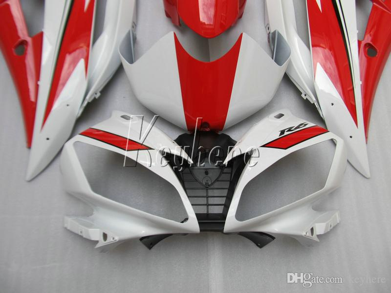 Carenados de moldes de inyección para el kit de carenado Yamaha YZF R6 07 08 rojo blanco yzf R6 2007 2008 IY02
