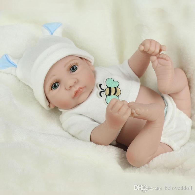 NPKDOLL 11 inch 28cm Mini Baby Reborn Baby Doll Boys Full Silicone Body Reborn Baby Dolls For Boys