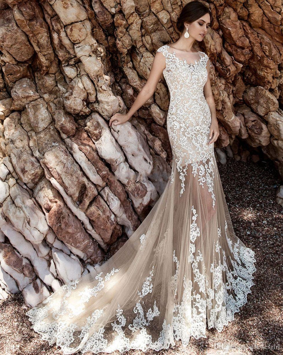 Champagne Over Skirts Mermaid Wedding Dresses Tulle See Through Vintage Lace Appliqued Sash Detachable Train Boho Bridal Wedding Gowns