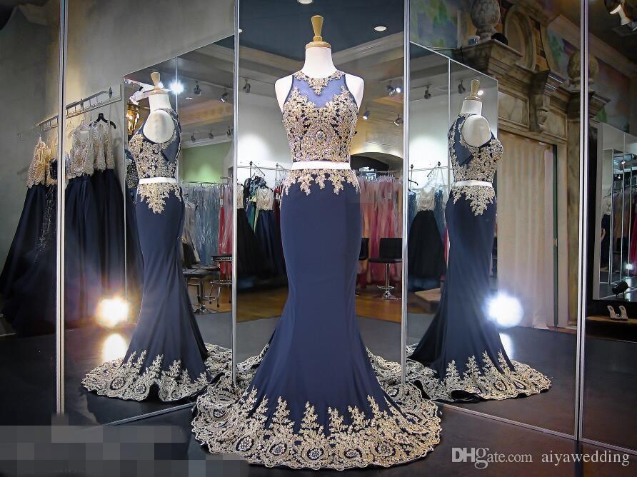 Sexy prom dresses sirena oro cristalli di pizzo in rilievo pura illusione top due pezzi abiti da sera formale di lusso 2019 foto reali economici