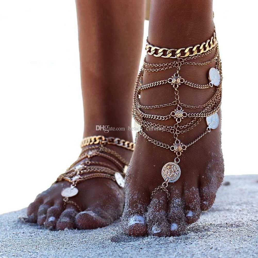 Argent Antique Bracelets de cheville Chaînes Fashion Bracelet Monnaie Tassel Leg pour bikini femmes Bohemian plage Bracelets de cheville de pied bijoux Chaînes Accessoires Nouveau