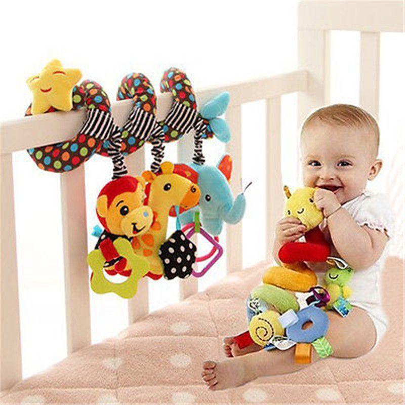 Wholesale- Baby Rattles Plush Animal Monkey Giraffe Elephant Cot ...