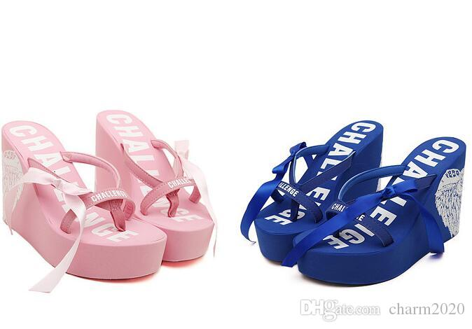 2017 New Year's new ultra high heel beach flip-flops and the candy colored cool slippers Size 35-40