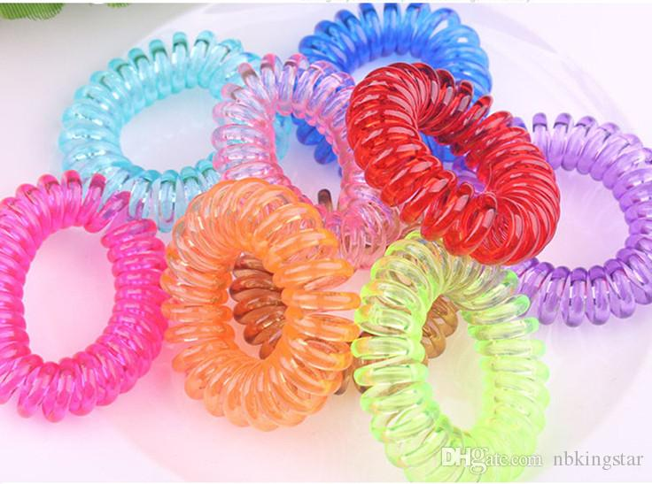 2017 Summer Women Colorful Hairband Girl Candy Color Headband Telephone Cord Elastic Ponytail Holders Diameter 3.5cm Hair Ring