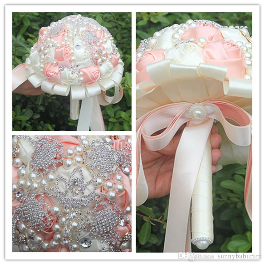Pink Cream Wedding Bouquets Satin Lace Ribbon Pearls Artificial